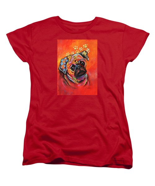 Pug Women's T-Shirt (Standard Cut) by Patricia Lintner