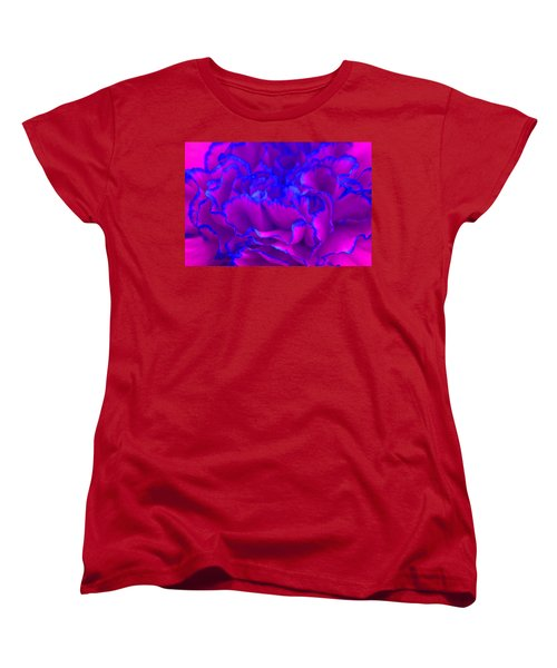 Women's T-Shirt (Standard Cut) featuring the photograph Bold Fuschia Pink And Blue Carnation Flower by Shelley Neff