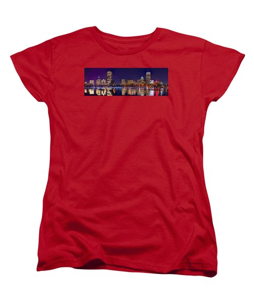 Women's T-Shirt (Standard Cut) featuring the photograph Boston Back Bay Skyline At Night 2017 Color Panorama 1 To 3 Ratio by Jon Holiday