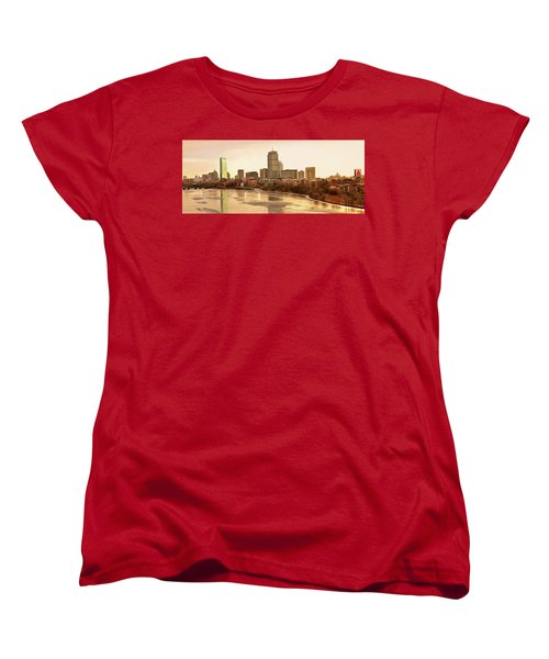 Boston Skyline On A December Morning Women's T-Shirt (Standard Cut) by Mitchell R Grosky