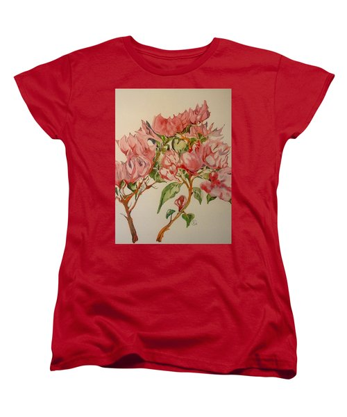 Women's T-Shirt (Standard Cut) featuring the painting Bougainvillea by Iya Carson