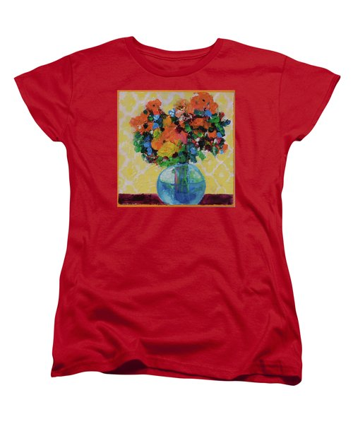 Women's T-Shirt (Standard Cut) featuring the painting Bouquet-a-day #7 Original Acrylic Painting Free Shipping 59.00 By Elaine Elliott by Elaine Elliott