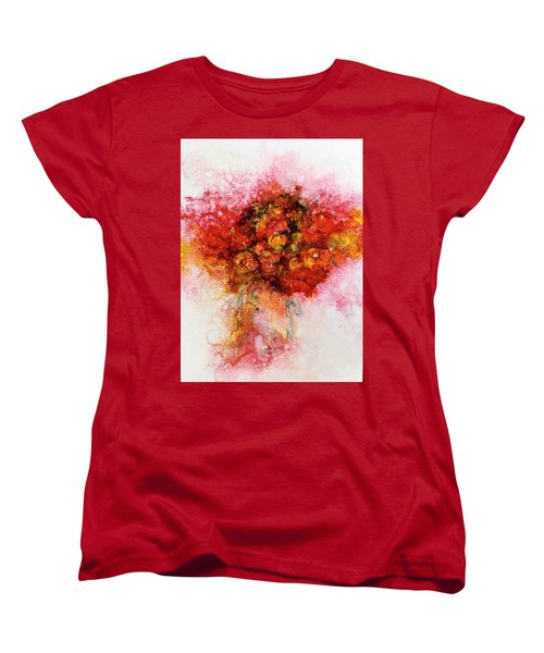 Women's T-Shirt (Standard Cut) featuring the painting Bouquet In Red by Carolyn Rosenberger