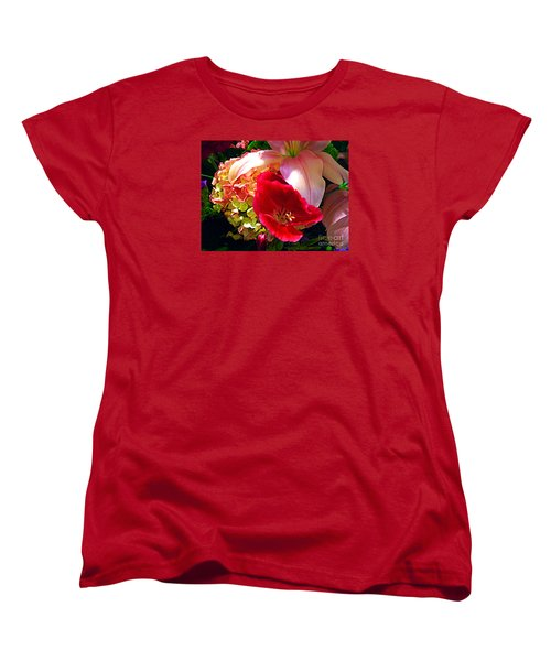 Bouquet Of Lilies Poppy And Hydrangea Women's T-Shirt (Standard Cut) by Merton Allen