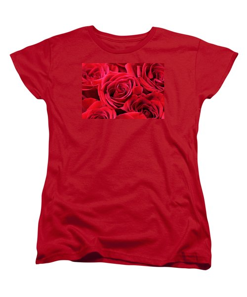 Bouquet Of Red Roses Women's T-Shirt (Standard Cut) by Peggy Collins