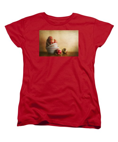 Bowls And Apples Still Life Women's T-Shirt (Standard Cut) by Tom Mc Nemar