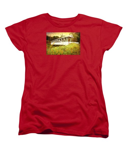 Women's T-Shirt (Standard Cut) featuring the photograph Bowser Covered Bridge by Trina  Ansel
