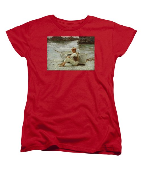 Women's T-Shirt (Standard Cut) featuring the painting Boy And Boat  by Henry Scott Tuke