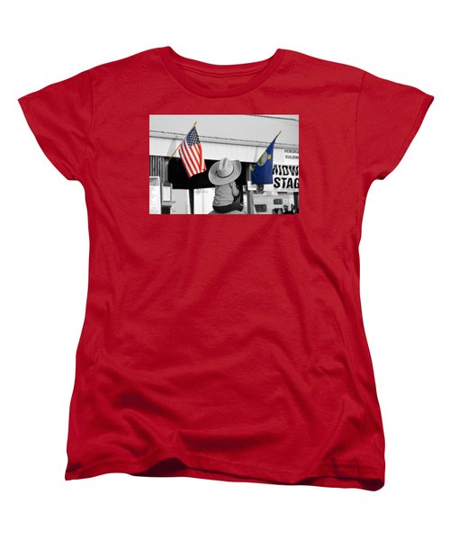 Boy With Two Flags Women's T-Shirt (Standard Cut)