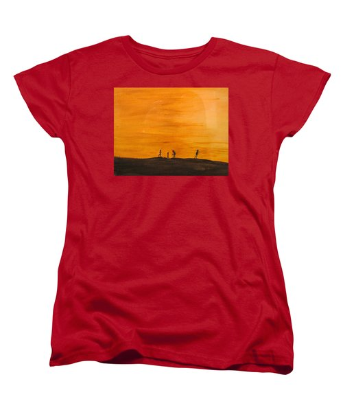 Women's T-Shirt (Standard Cut) featuring the painting Boys At Sunset by Ian  MacDonald