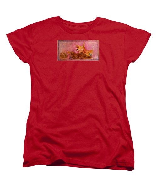 Women's T-Shirt (Standard Cut) featuring the painting Bre Fox And Bre Crow by Gertrude Palmer