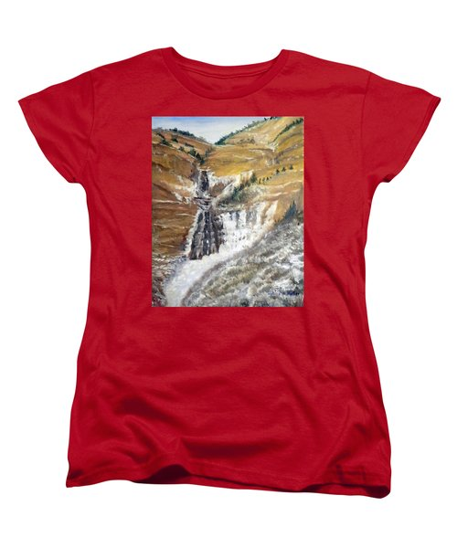 Bridal Veil Falls In Winter Women's T-Shirt (Standard Cut) by Sherril Porter