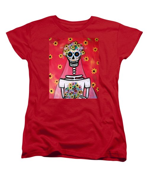 Women's T-Shirt (Standard Cut) featuring the painting Bridezilla Dia De Los Muertos by Pristine Cartera Turkus