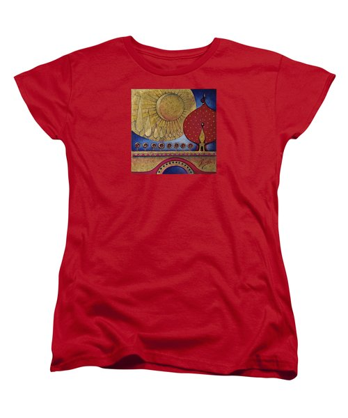 Women's T-Shirt (Standard Cut) featuring the painting Bridge Between Sunrise And Moonrise by Anna Ewa Miarczynska