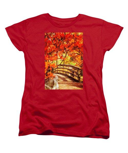 Women's T-Shirt (Standard Cut) featuring the photograph Bridge Of Fall by Kristal Kraft