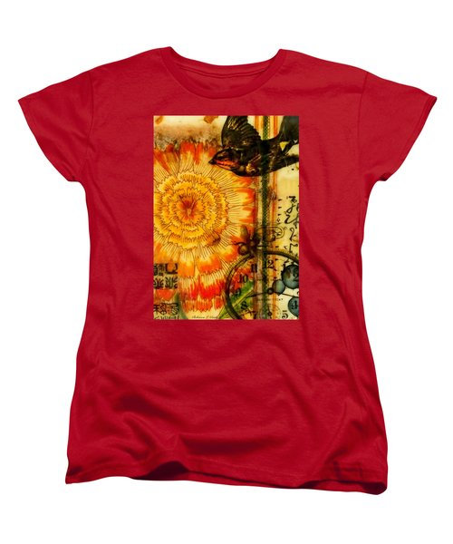 Women's T-Shirt (Standard Cut) featuring the painting Bright Life Encaustic by Bellesouth Studio