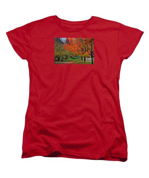 Women's T-Shirt (Standard Cut) featuring the digital art Bright Orange Fall Colors by Kirt Tisdale