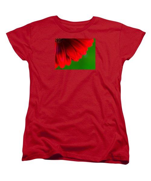 Bright Red Chrysanthemum Flower Petals And Stamen Women's T-Shirt (Standard Cut) by John Williams