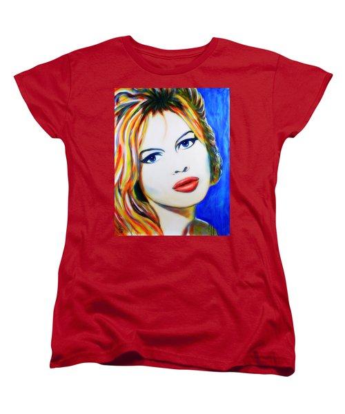 Women's T-Shirt (Standard Cut) featuring the painting Brigitte Bardot Pop Art Portrait by Bob Baker