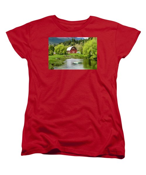 Brinnon Washington Barn By Pond Women's T-Shirt (Standard Cut) by Teri Virbickis