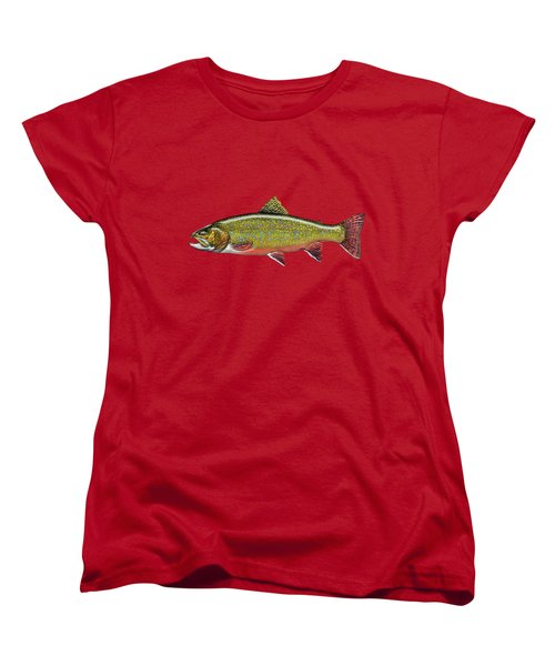 Brook Trout On Red Leather Women's T-Shirt (Standard Cut) by Serge Averbukh