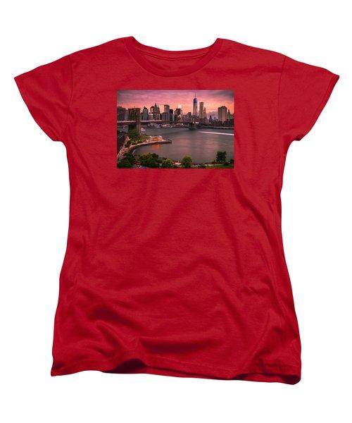 Brooklyn Bridge Over New York Skyline At Sunset Women's T-Shirt (Standard Cut) by Ranjay Mitra