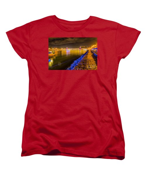 Women's T-Shirt (Standard Cut) featuring the photograph Budapest At Night Lanchid Chain Bridge by Jivko Nakev
