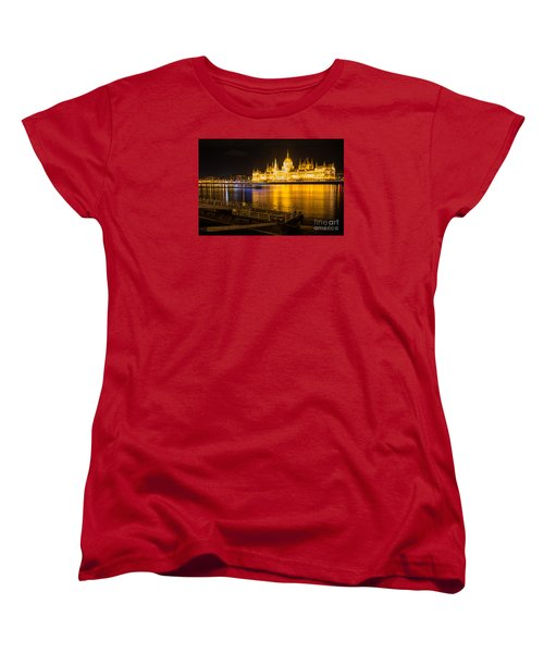 Women's T-Shirt (Standard Cut) featuring the photograph Budapest Night View Parliament by Jivko Nakev