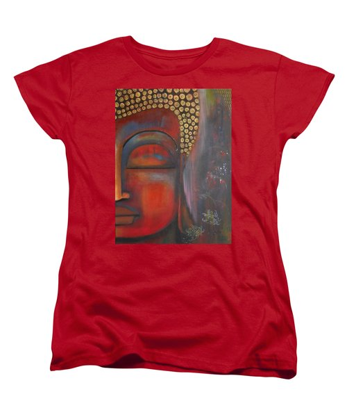 Women's T-Shirt (Standard Cut) featuring the painting Buddha With Floating Lotuses by Prerna Poojara