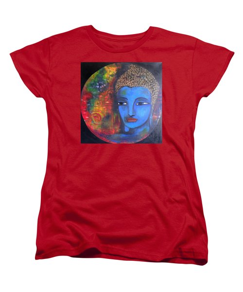 Women's T-Shirt (Standard Cut) featuring the painting Buddha Within A Circular Background by Prerna Poojara