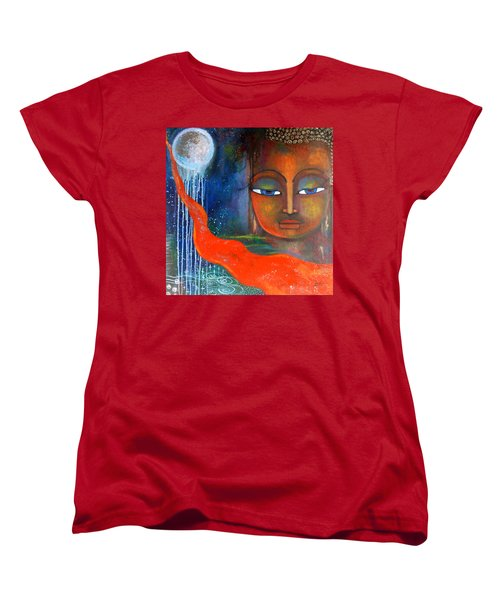 Women's T-Shirt (Standard Cut) featuring the painting Buddhas Robe Reaching For The Moon by Prerna Poojara