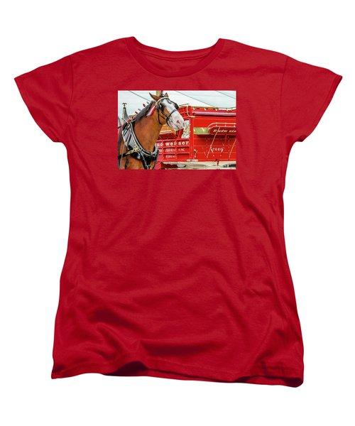Women's T-Shirt (Standard Cut) featuring the photograph Budweiser Clydesdale In Full Dress by Bill Gallagher