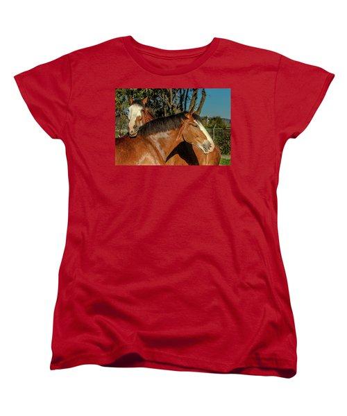 Women's T-Shirt (Standard Cut) featuring the photograph Budweiser Clydesdales  by Bill Gallagher