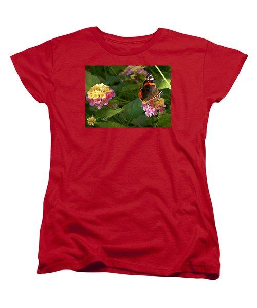 Busy Butterfly Side 1 Women's T-Shirt (Standard Cut) by Felipe Adan Lerma