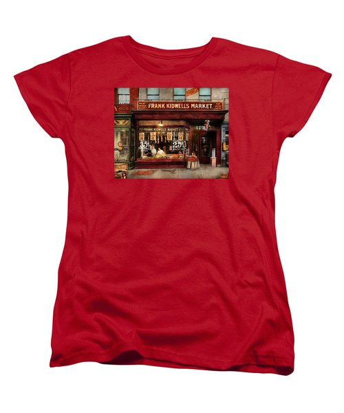 Women's T-Shirt (Standard Cut) featuring the photograph Butcher - Meat Priced Right 1916 by Mike Savad