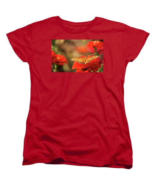 Butterfly And Flower I Women's T-Shirt (Standard Cut) by Donna G Smith