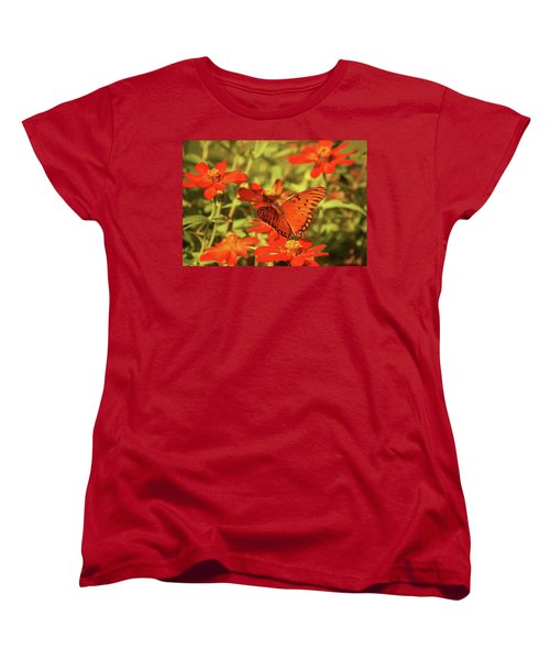 Butterfly And Flower II Women's T-Shirt (Standard Cut) by Donna G Smith