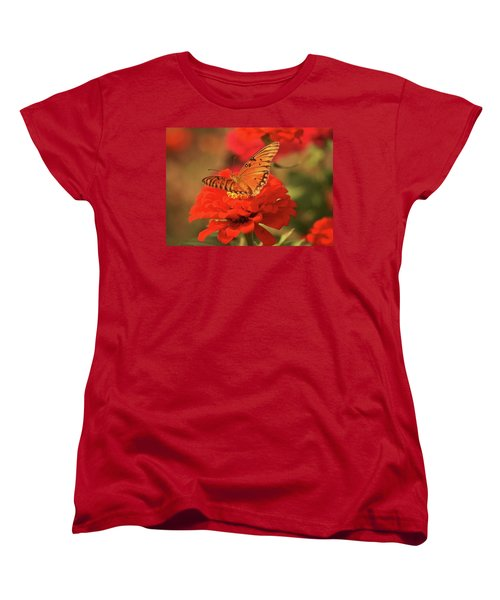 Butterfly In Garden Women's T-Shirt (Standard Cut) by Donna G Smith