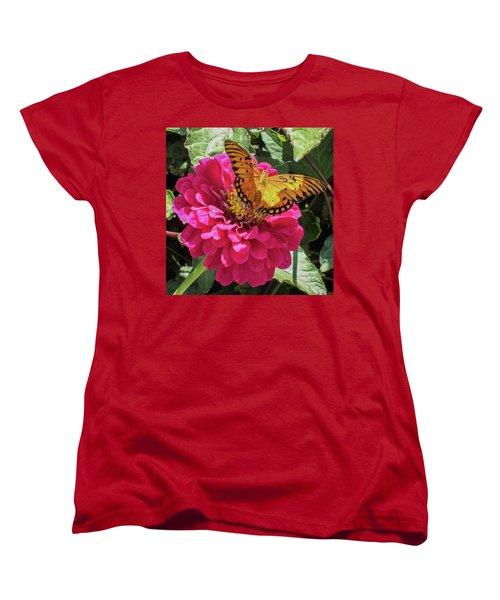 Butterfly On Pink Flower Women's T-Shirt (Standard Cut) by Mark Barclay