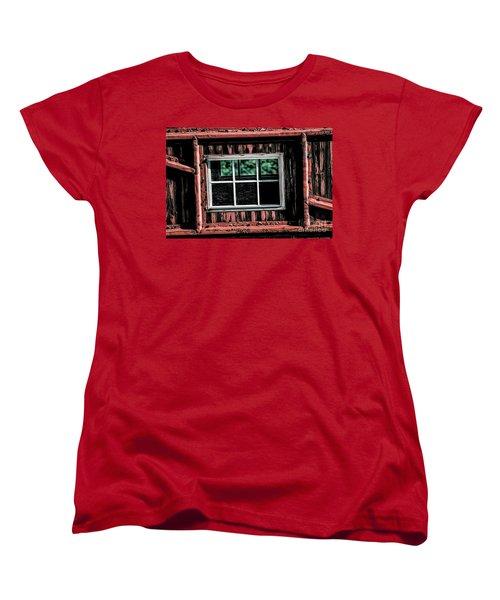 Women's T-Shirt (Standard Cut) featuring the photograph Caboose Window by Brad Allen Fine Art