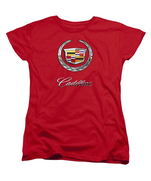 Cadillac - 3 D Badge On Red Women's T-Shirt (Standard Cut)