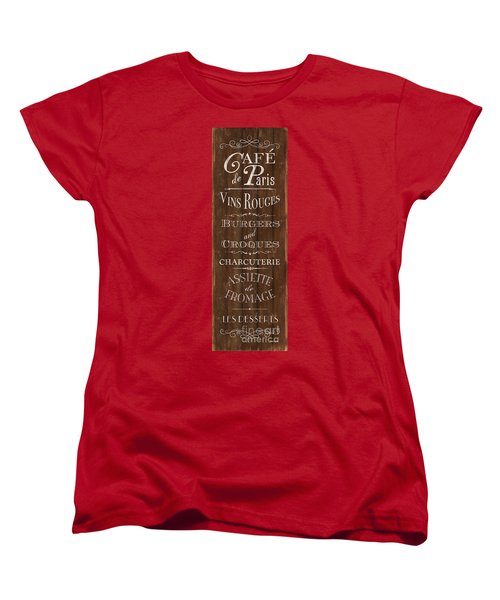 Women's T-Shirt (Standard Cut) featuring the painting Cafe De Paris 1 by Debbie DeWitt