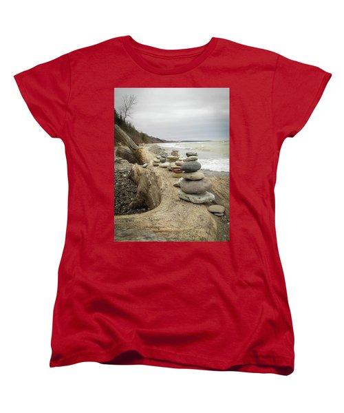 Women's T-Shirt (Standard Cut) featuring the photograph Cairn On The Beach by Kimberly Mackowski