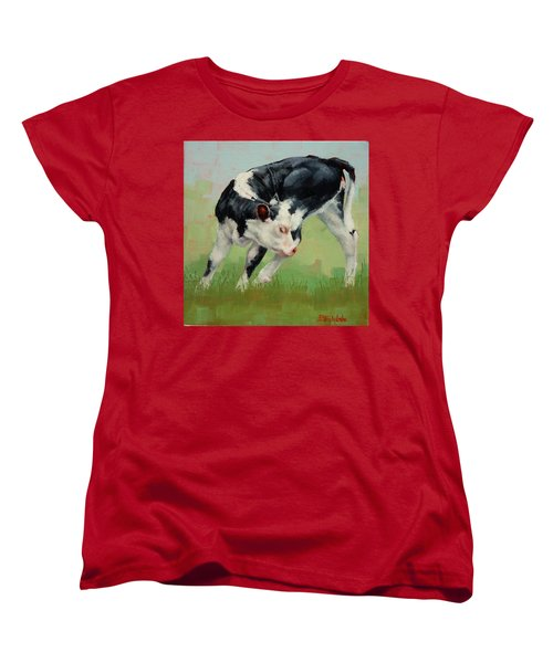 Women's T-Shirt (Standard Cut) featuring the painting Calf Contortions by Margaret Stockdale