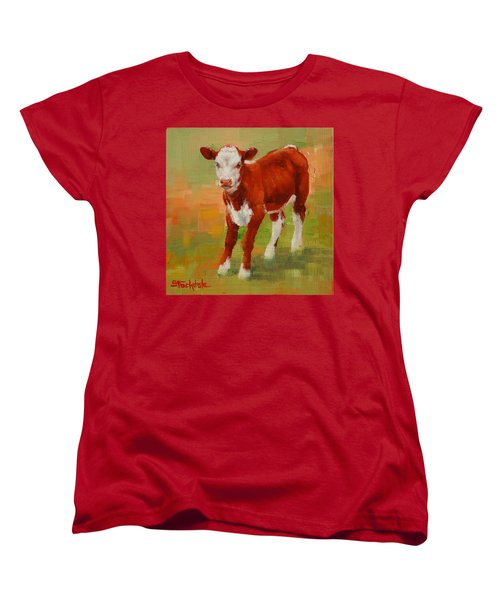 Women's T-Shirt (Standard Cut) featuring the painting Calf Miniature by Margaret Stockdale