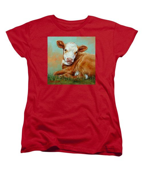 Women's T-Shirt (Standard Cut) featuring the painting Calf Resting by Margaret Stockdale