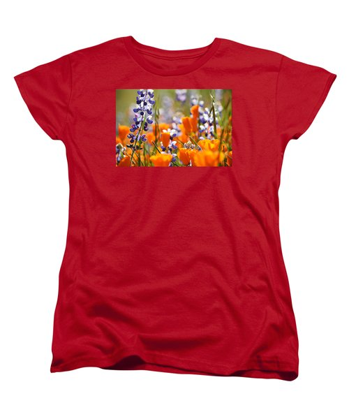 California Poppies And Lupine Women's T-Shirt (Standard Cut) by Kyle Hanson