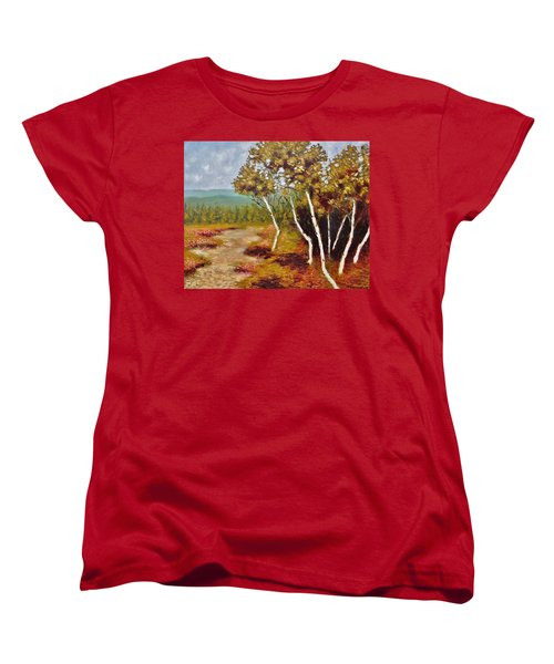 Women's T-Shirt (Standard Cut) featuring the painting Camel Top Birches by Jason Williamson