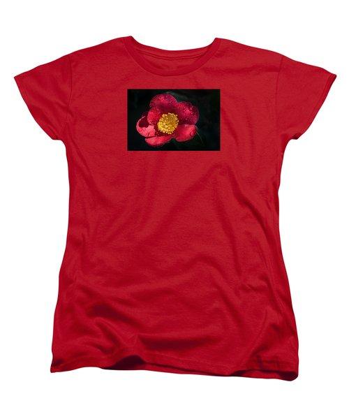 Camellia In Rain Women's T-Shirt (Standard Cut) by Catherine Lau