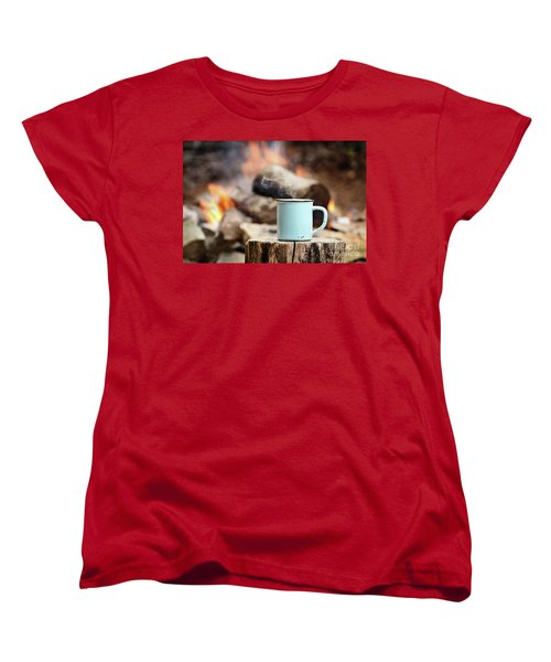 Campfire Coffee Women's T-Shirt (Standard Cut) by Stephanie Frey